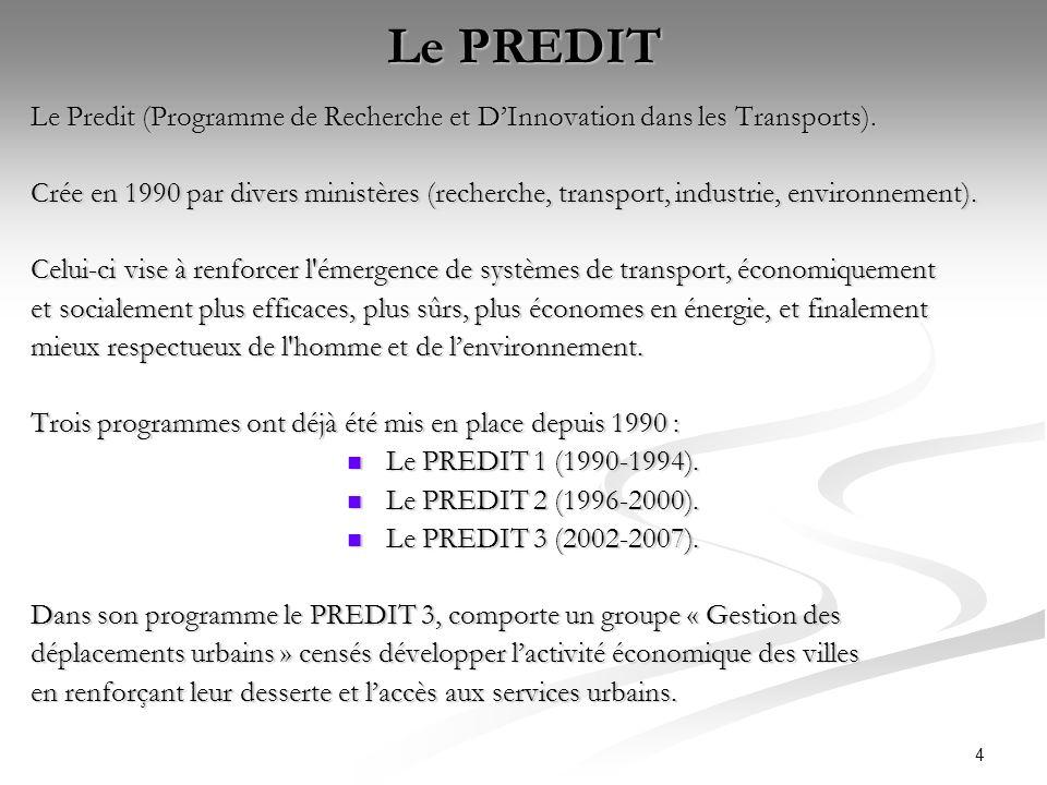 Le PREDIT Le Predit (Programme de Recherche et D'Innovation dans les Transports).