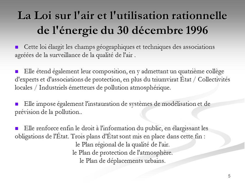 La Loi sur l air et l utilisation rationnelle de l énergie du 30 décembre 1996