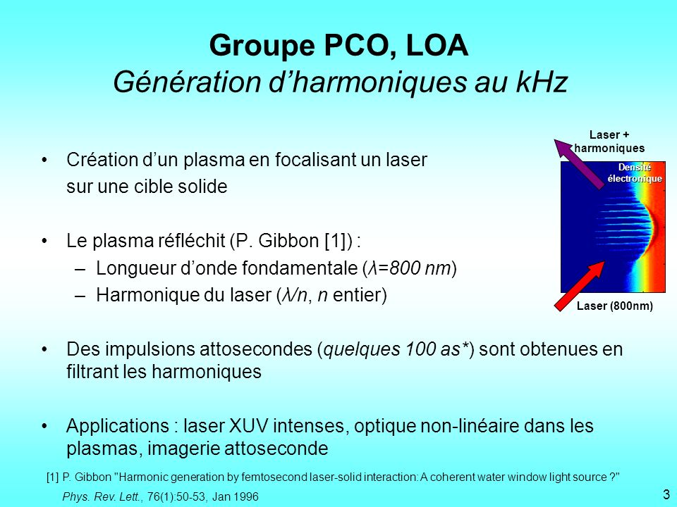 Groupe PCO, LOA Génération d'harmoniques au kHz
