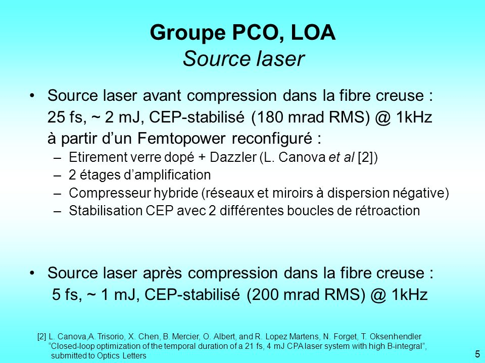 Groupe PCO, LOA Source laser