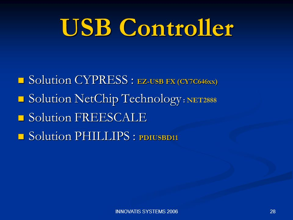 USB Controller Solution CYPRESS : EZ-USB FX (CY7C646xx)