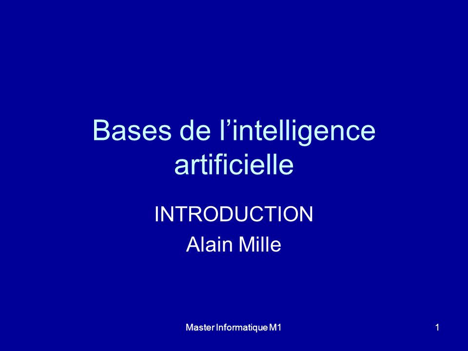 Bases de l'intelligence artificielle