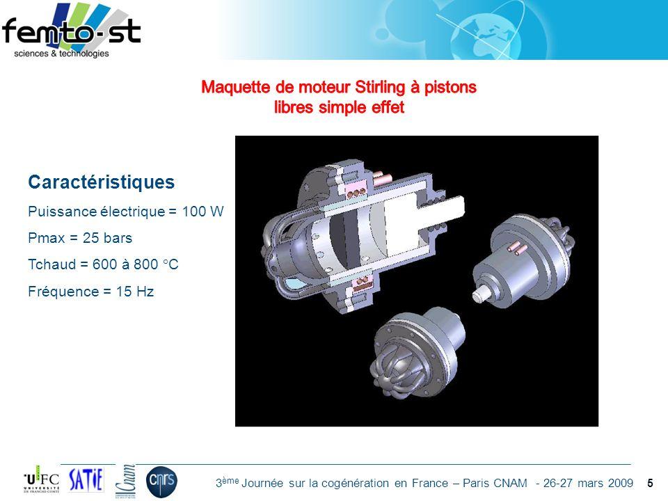 Maquette de moteur Stirling à pistons libres simple effet