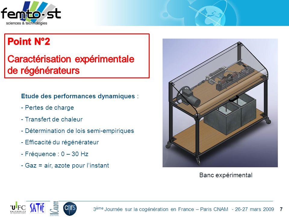 Caractérisation expérimentale de régénérateurs