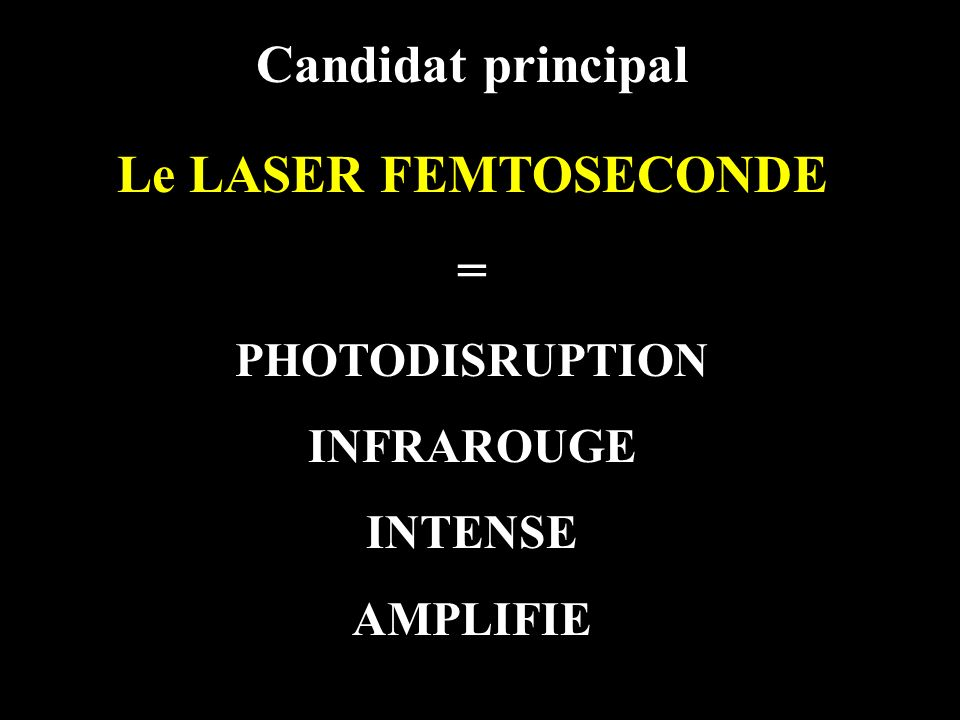 Candidat principal Le LASER FEMTOSECONDE =