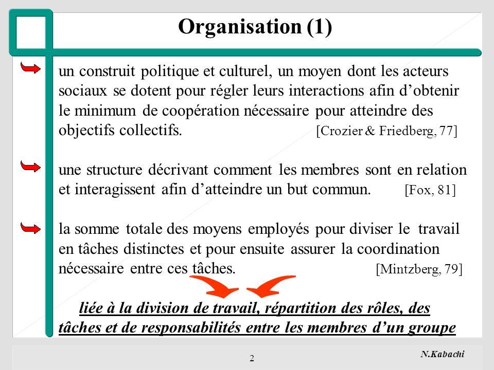 Organisation (1) un construit politique et culturel, un moyen dont les acteurs. sociaux se dotent pour régler leurs interactions afin d'obtenir.