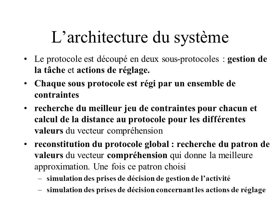 L'architecture du système