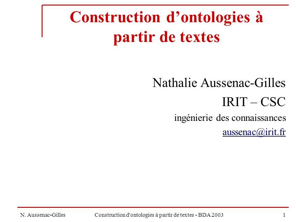 Construction d'ontologies à partir de textes