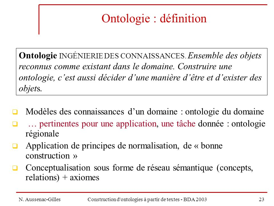 Ontologie : définition