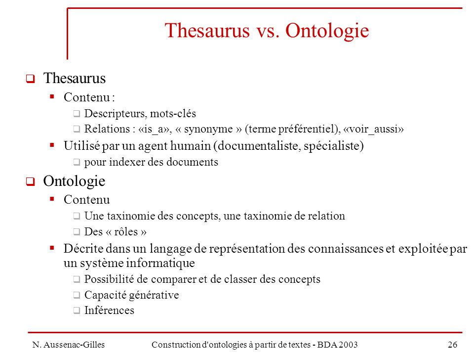 Thesaurus vs. Ontologie