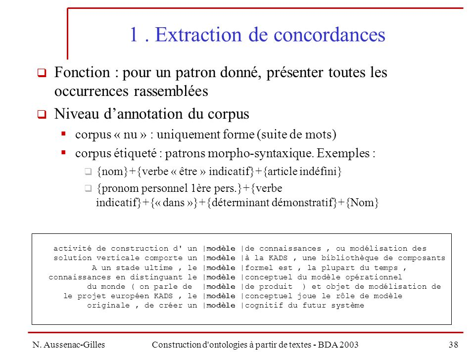 1 . Extraction de concordances