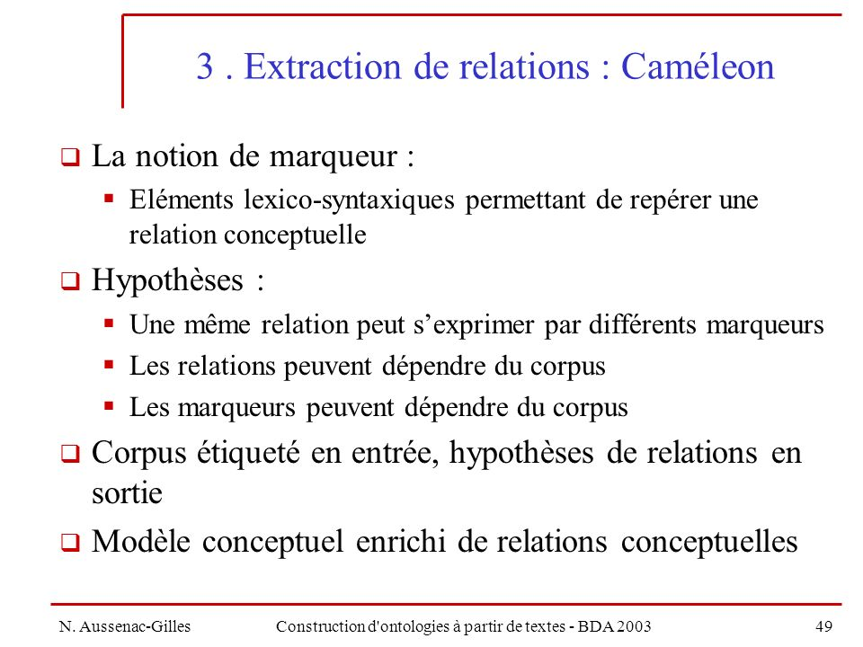 3 . Extraction de relations : Caméleon