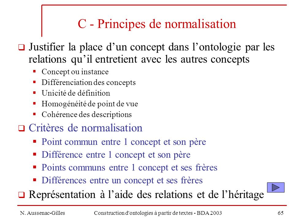 C - Principes de normalisation