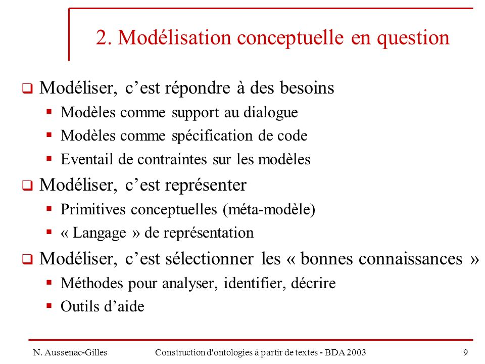 2. Modélisation conceptuelle en question