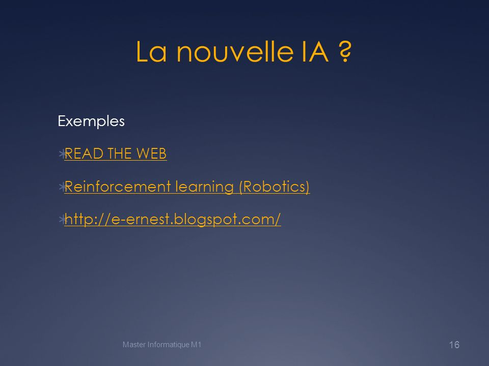 La nouvelle IA Exemples READ THE WEB