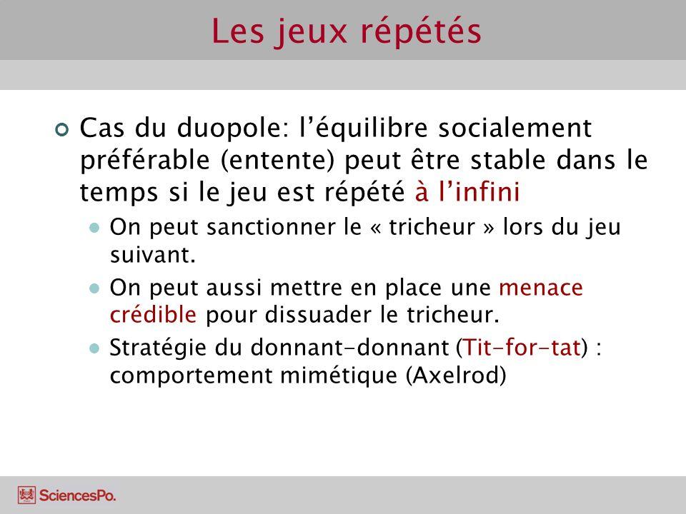 Les jeux répétés Cas du duopole: l'équilibre socialement préférable (entente) peut être stable dans le temps si le jeu est répété à l'infini.