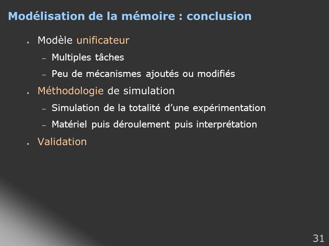 Modélisation de la mémoire : conclusion