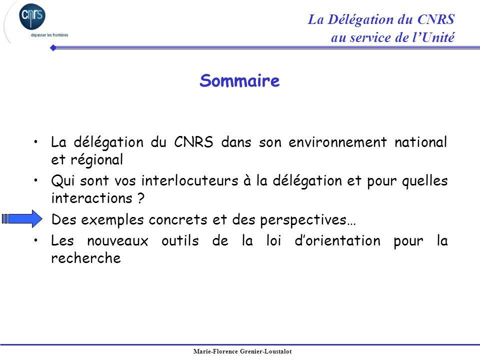 Sommaire La Délégation du CNRS au service de l'Unité