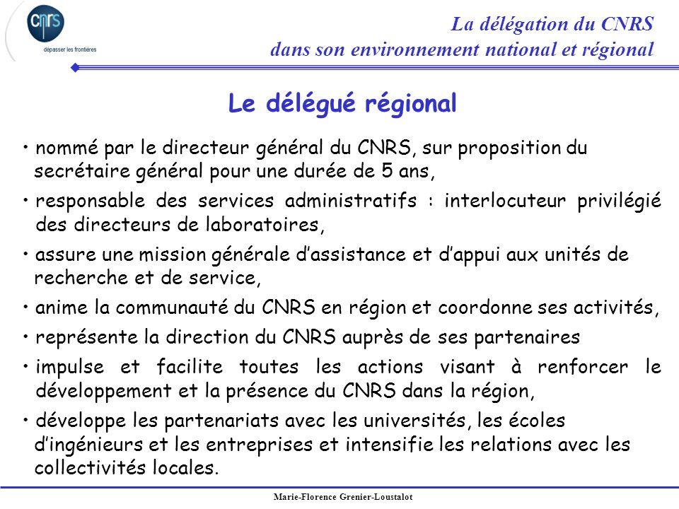Le délégué régional La délégation du CNRS