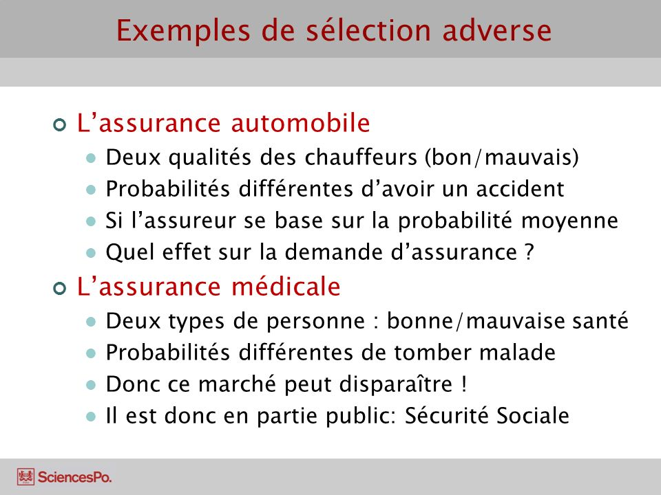 Exemples de sélection adverse