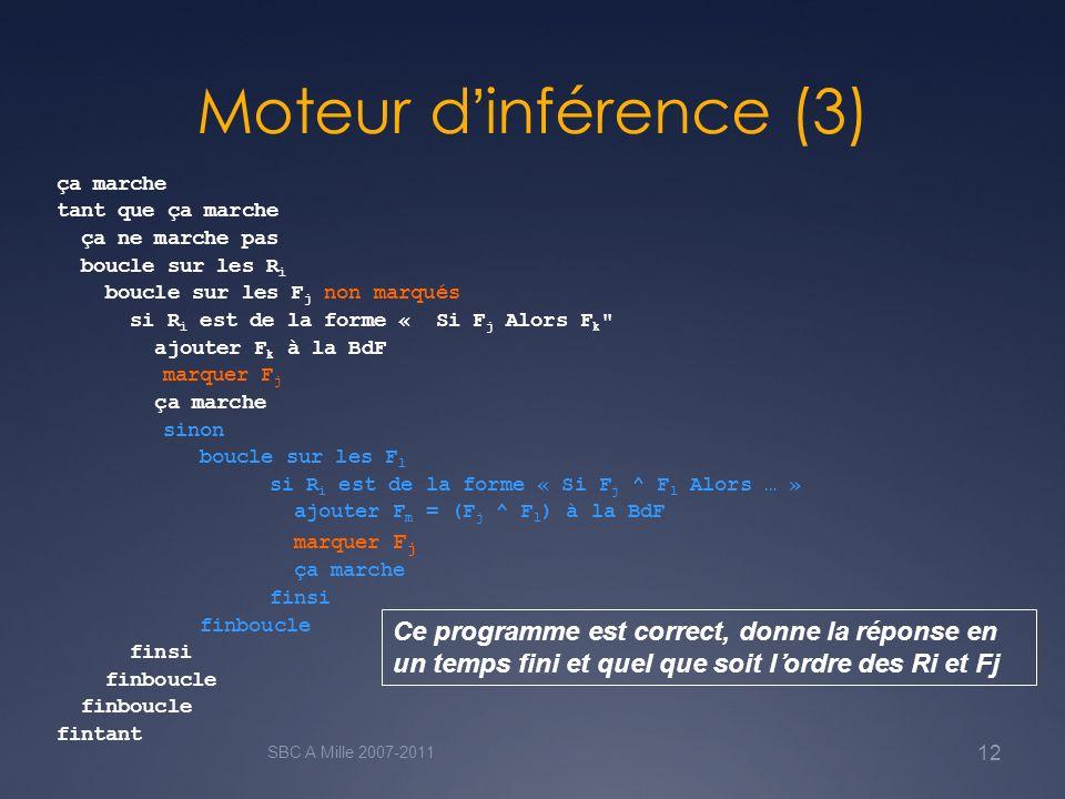 Moteur d'inférence (3) ça marche. tant que ça marche. ça ne marche pas. boucle sur les Ri. boucle sur les Fj non marqués.