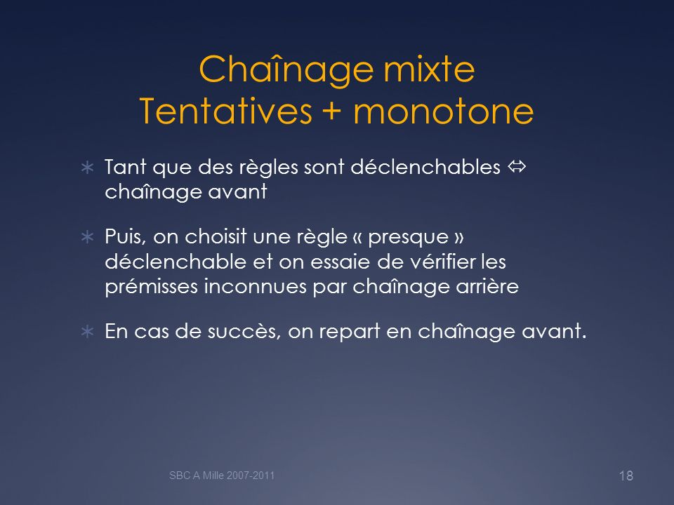 Chaînage mixte Tentatives + monotone