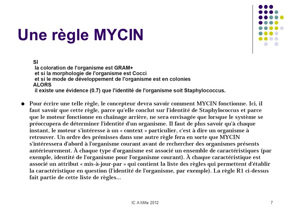 Une règle MYCIN IC A Mille 2012