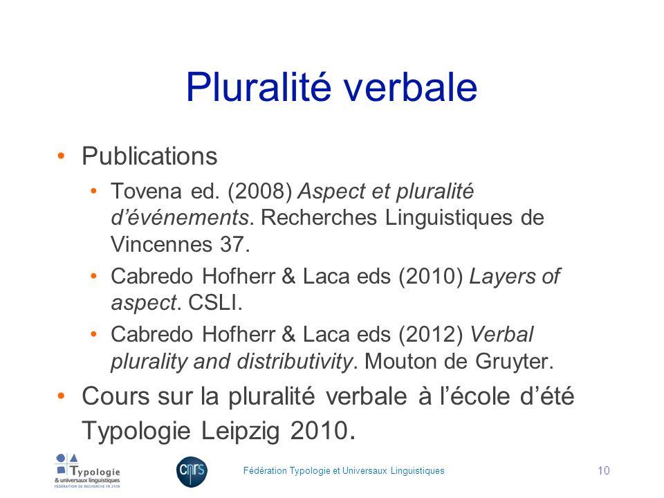 Pluralité verbale Publications