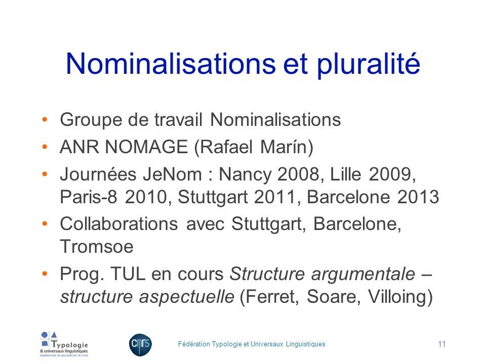 Nominalisations et pluralité