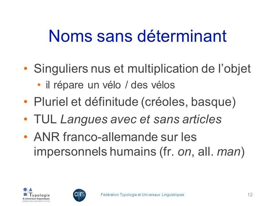 Noms sans déterminant Singuliers nus et multiplication de l'objet
