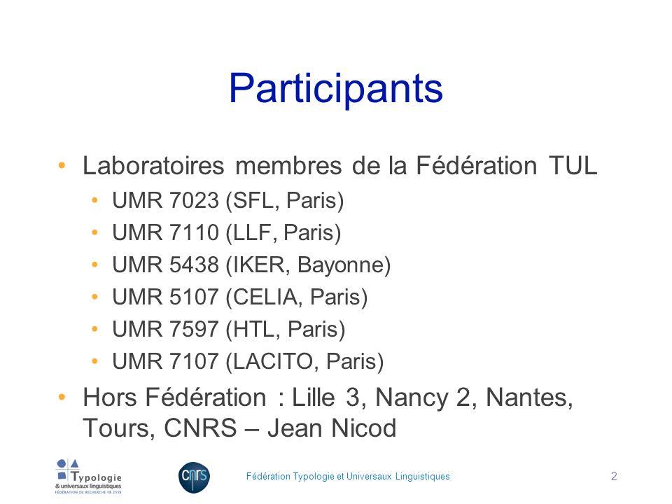 Participants Laboratoires membres de la Fédération TUL