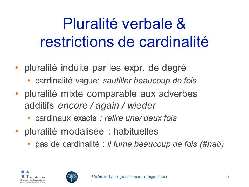 Pluralité verbale & restrictions de cardinalité