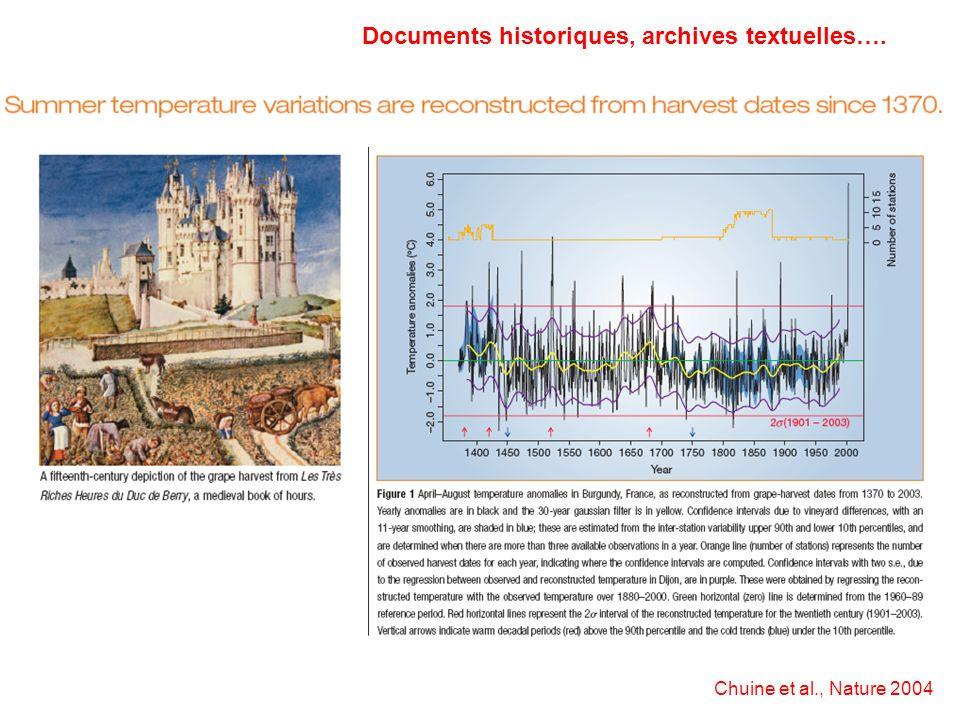Documents historiques, archives textuelles….