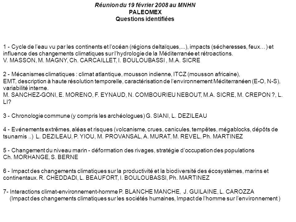 Réunion du 19 février 2008 au MNHN Questions identifiées
