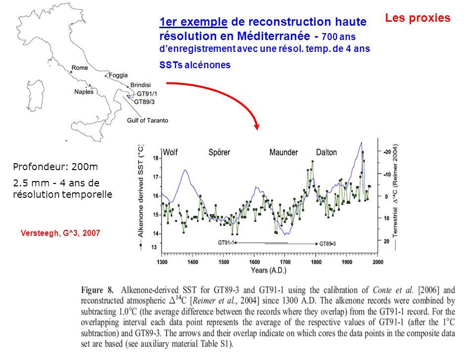 Les proxies 1er exemple de reconstruction haute résolution en Méditerranée - 700 ans d'enregistrement avec une résol. temp. de 4 ans.