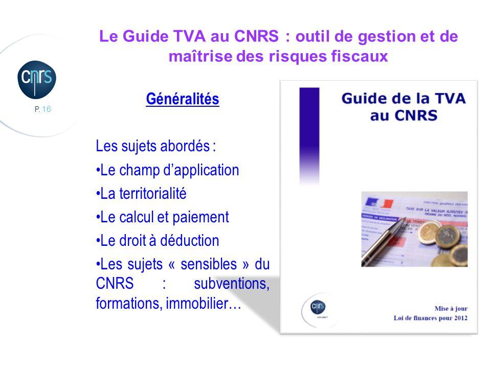 Le Guide TVA au CNRS : outil de gestion et de maîtrise des risques fiscaux