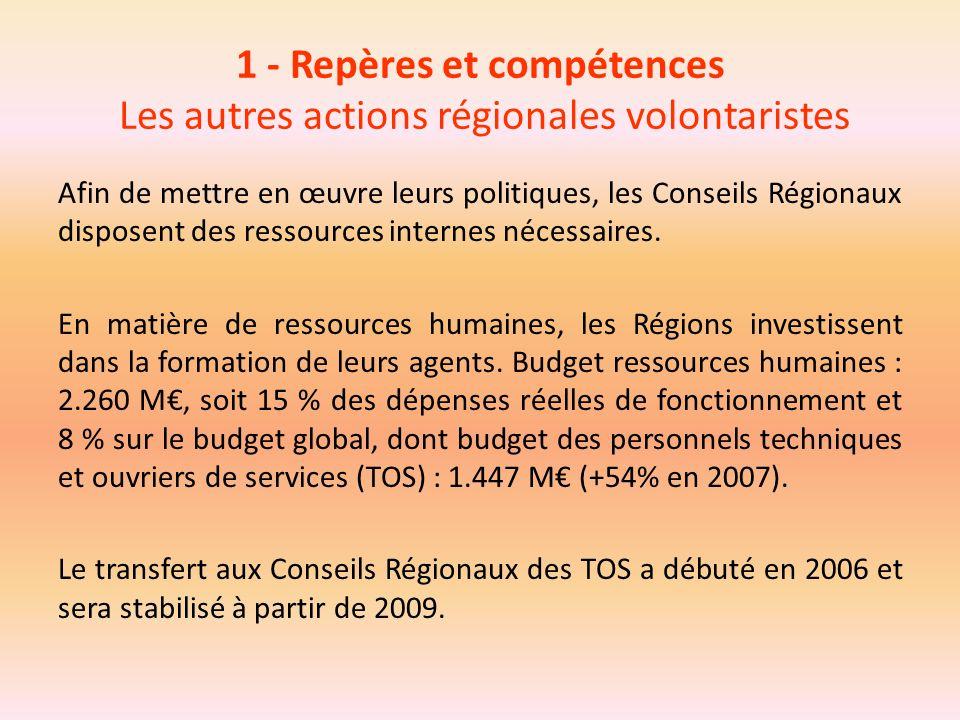 1 - Repères et compétences Les autres actions régionales volontaristes
