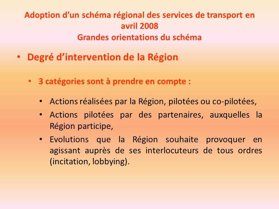 Degré d'intervention de la Région