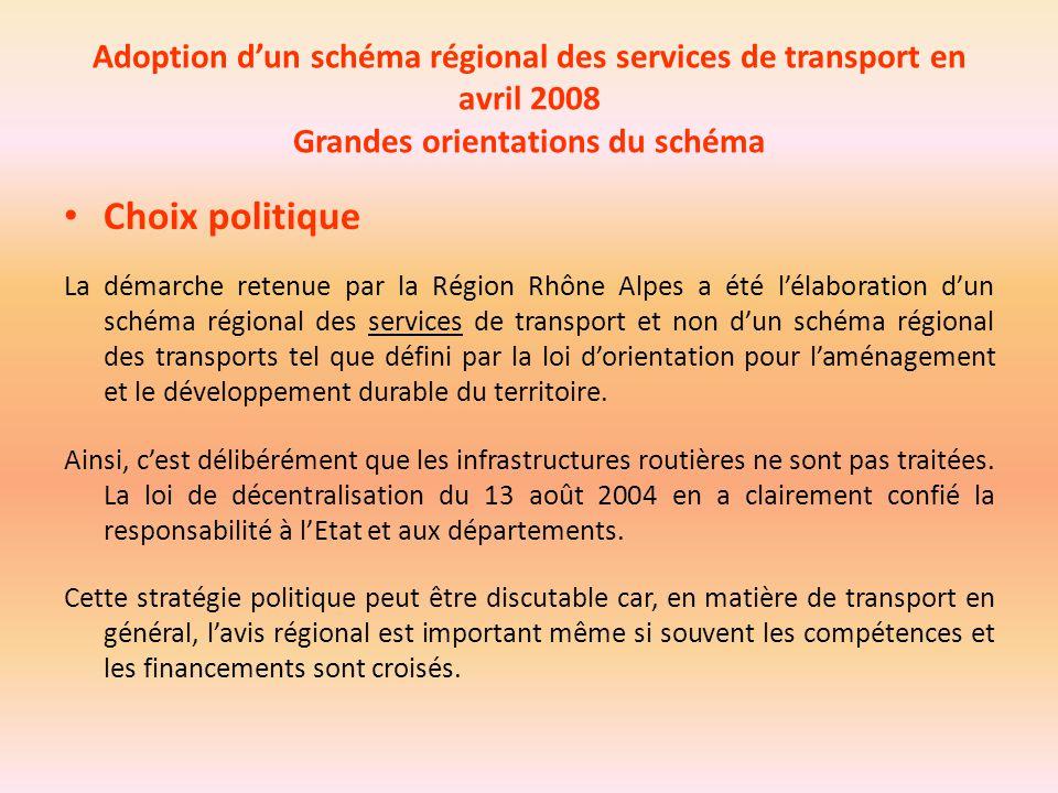 Adoption d'un schéma régional des services de transport en avril 2008 Grandes orientations du schéma