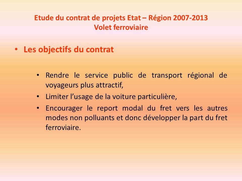 Etude du contrat de projets Etat – Région 2007-2013 Volet ferroviaire