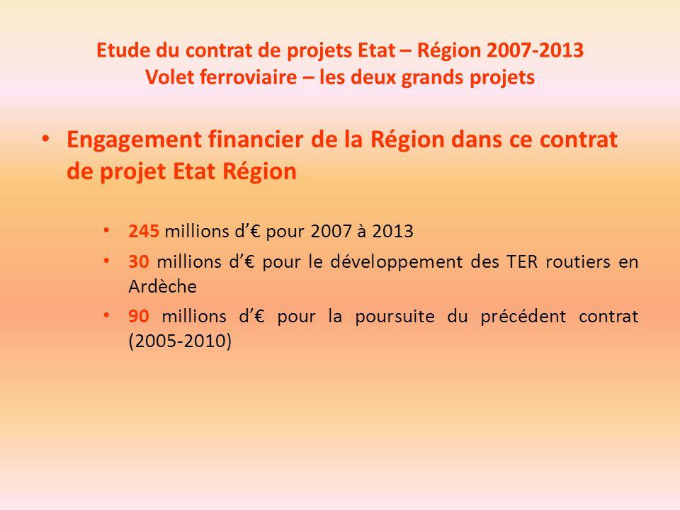 Etude du contrat de projets Etat – Région 2007-2013 Volet ferroviaire – les deux grands projets