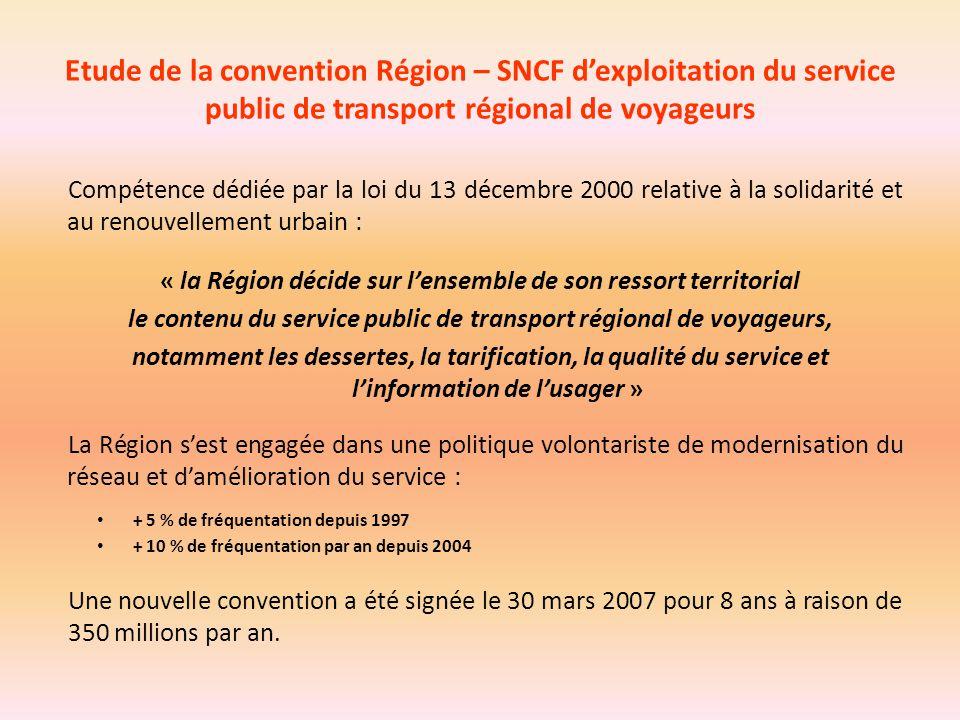 Etude de la convention Région – SNCF d'exploitation du service public de transport régional de voyageurs