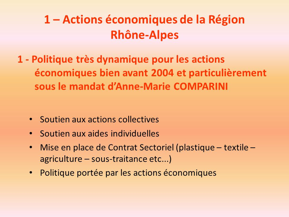 1 – Actions économiques de la Région Rhône-Alpes