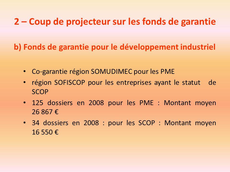 2 – Coup de projecteur sur les fonds de garantie