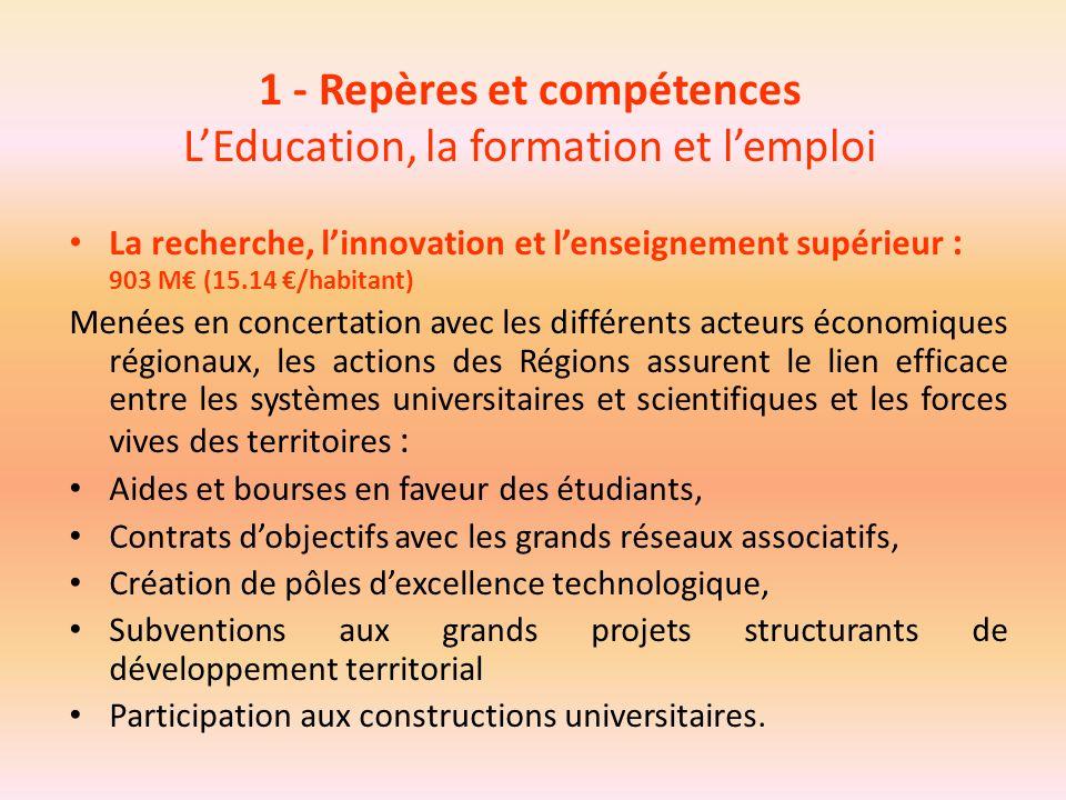 1 - Repères et compétences L'Education, la formation et l'emploi