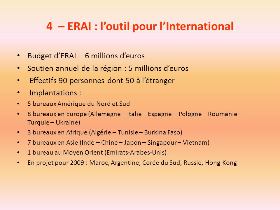 4 – ERAI : l'outil pour l'International
