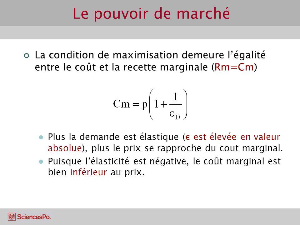 Le pouvoir de marché La condition de maximisation demeure l'égalité entre le coût et la recette marginale (Rm=Cm)