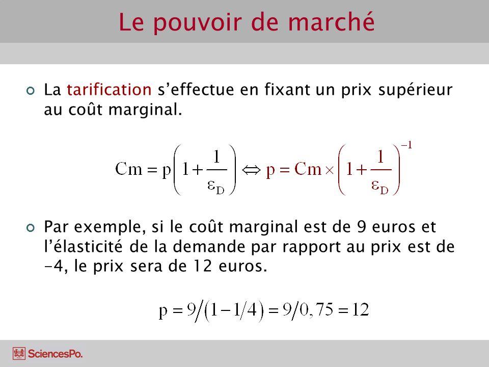 Le pouvoir de marché La tarification s'effectue en fixant un prix supérieur au coût marginal.