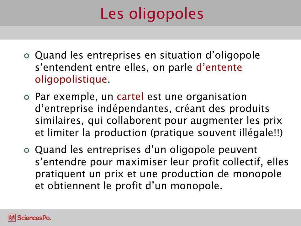Les oligopoles Quand les entreprises en situation d'oligopole s'entendent entre elles, on parle d'entente oligopolistique.