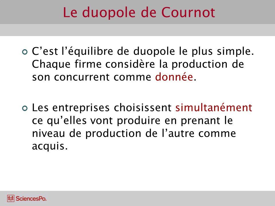 Le duopole de Cournot C'est l'équilibre de duopole le plus simple. Chaque firme considère la production de son concurrent comme donnée.